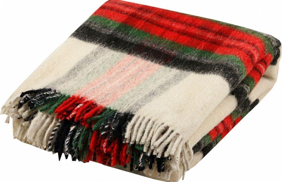 7de198a9b Deka vlnená tkaná so strapcami / jednovrst. zeleno-červená   Runo ...