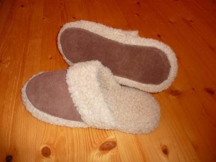 Foto Našuchovacie papuče kožené / protišmyková podrážka