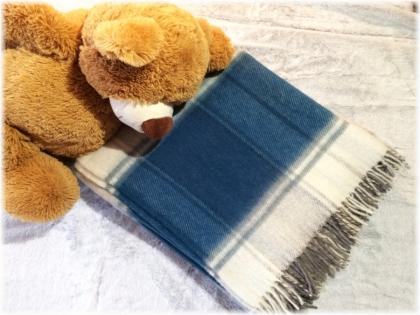 Foto Deka vlnená tkaná so strapcami / jednovrst. modro- šedo- prírodná biela