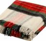Foto Deka vlnená tkaná so strapcami / jednovrst. zeleno-červená
