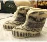 Foto Vlnené papuče vysoké so zipsom/ protišmyková podrážka