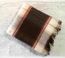 Foto Deka vlnená tkaná so strapcami / jednovrst. tm.bordovo-červeno- prírodná biela